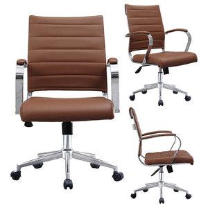 Flash Furniture Mid Back Black Leather Wood Swivel Task