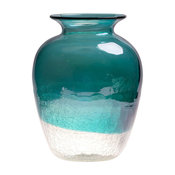 Handblown European Classical Tabletop Glass Vase, Turquoise