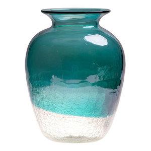 Handblown European Classical Tabletop Glass Vase, Turquoise