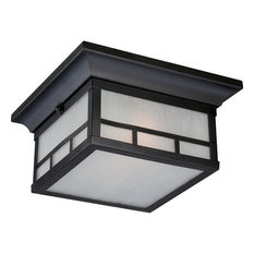 Satco Products - Nuvo Drexel ES 2-Light Stone Black Outdoor Ceiling Light - Outdoor Flush-mount Ceiling Lighting
