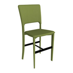 Metro Leather Counter Stool, Leather: Green