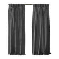 Loha Linen Pinch Pleat Window Curtain Panel Pair, 27x96, Black Pearl