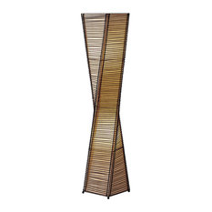Transitional Floor Lamp, Twisted Shape With 2 Lights, Unique Design