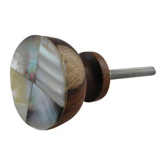 Artisanal Creations   Wooden Knobs Or Pulls With Mother Of Pearl Fascia,  Set Of 4