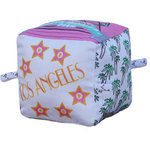 GlobeTotters - Los Angeles Organic Baby Block Rattle - Take your tot on a fun filled organic journey to Los Angeles!  Your tots will love the original and vibrant art. You will love they are playing with 100% GOTS certified organic cotton.  Produced with non-toxic water based inks (safest for chewing).  Our eco blocks are educational, stimulating and fun!