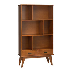 Draper Mid Century Solid Hardwood Wide Bookcase and Storage Unit, Teak Brown