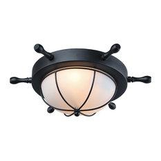 1-Light Flush Mount Ceiling Light Fixture, Black Finish, Frosted Glass