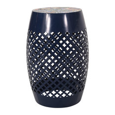 Vivaan Outdoor Lace Cut Side Table With Tile Top, Dark Blue, Multi-Color