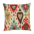 Ikat Throw Pillow Cover, Cream, Red and Brown
