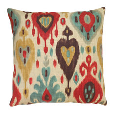 - Ikat Throw Pillow Cover, Cream, Red and Brown - Decorative Pillows