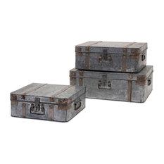 IMAX Worldwide Home   Teri Galvanized Suitcases, 3 Piece Set   Storage Bins  And