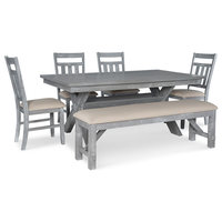 Powell Cafe 6 Piece Turino Dining Set in Grey Oak Stain