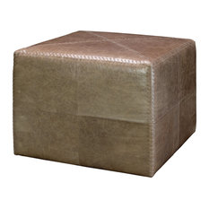 Large Ottoman, Taupe Leather