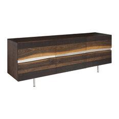 78.8-inch L Sideboard Live Edge Seared Oak Horizontal Stainless Steel Inlay Modern