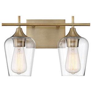 Octave 2-Light Bath Bar, Warm Brass