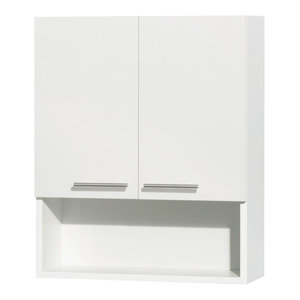 Amare Bathroom Wall-Mounted 2-Door Storage Cabinet, Glossy White