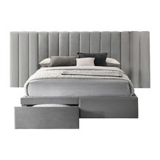 Faro Velvet Bed Frame with Extra Wide Headboard and Storage, Gray, Queen Size