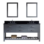 """Caroline Estate 72"""" Double Vanity, Gray, Without Faucet, Square, Double Mirror"""