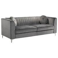 Traditional Velvet Sofa, Gray