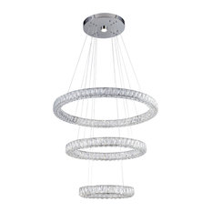 Triple Sided Clear Crystal Three Ring LED Chandelier
