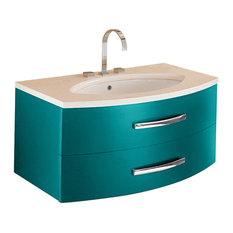 Estrema 2-Drawer Vanity With Marble Countertop and Ceramic Washbasin, Matte Turq