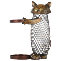 Iron Cast Cat Shaped Home Decor Metal Figurine Wine Holder