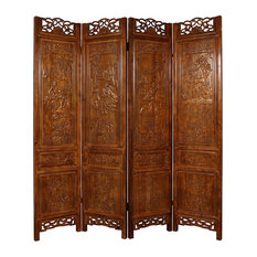Consigned Vintage Chinese Double Side Hand Carved Screen/Room Divider