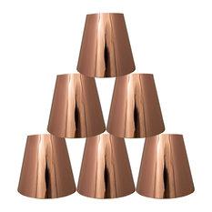 "Set of 6 Metallic Hardback Chandelier Lamp Shade, 3x5x4.5"", Copper"