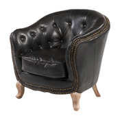 Petite Lounge Chair, Distressed Black Leather