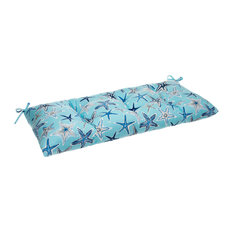 Reversible Tufted Loveseat/Bench Cushion With Ties, Reach For The Stars, Blue