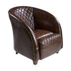 Michele Brown Top Grain Leather Club Chair