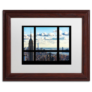 Philippe Hugonnard 'Window View Manhattan', Wood Frame, White Mat, 14x11