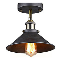 Highlight Antique Edison Semi Flush Ceiling Lamp Vintage Mini Pendant Fixture Lighting