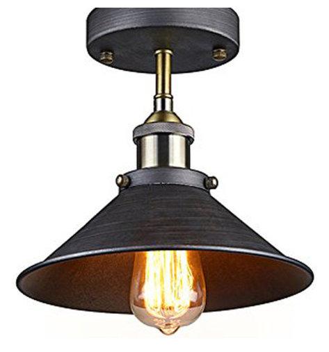Industrial Mini Pendant Light: Antique Industrial Edison Semi Flush Ceiling Lamp Vintage