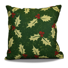 "Decorative Holiday Outdoor Pillow Floral Print, Green, 18""x18"""
