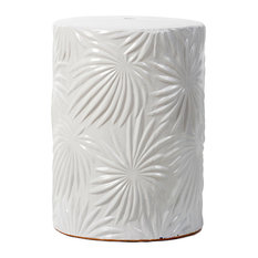 White Ceramic Garden Stool D13x18""