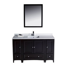 "Oxford 54"" Espresso Traditional Vanity, 2 Side Cabinets Diveria Chrome Faucet"