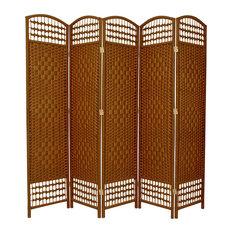 5 1/2' Tall Fiber Weave Room Divider, DarkBeige, 5 Panel