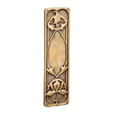 Art Nouveau Finger Plate, Antique Satin Brass