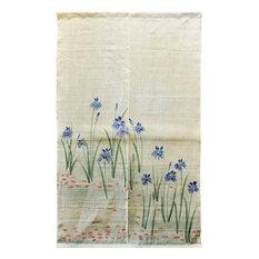 Blue Iris White Linen Noren Door Curtain
