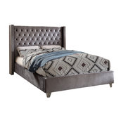 Ames Velvet Bed, Gray, King