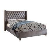 Ames Velvet Bed, Gray, King