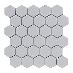 Hexagon Porcelain Shades of Grey Mosaic Tiles, White, 300x300 mm, Set of 5 m²