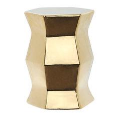 Safavieh Modern Hexagon Garden Stool, Plated Gold