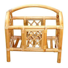 Consigned Mid-Century Bamboo Bentwood Rattan Magazine Rack