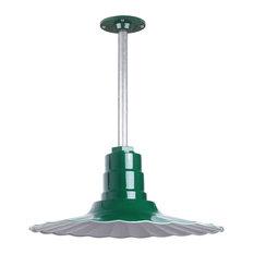 "Retro Radial Barn Lighting Pendant With Rigid Stem, Green, 16"""