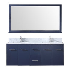"60"" Double Vanity, Navy Blue, White Carrera Marble Top, White Sinks, 60"" Mirror"