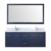 "Amelie 60"" Double Vanity Navy Blue, Carrera Marble Top, Square Sinks, 60"" Mir"