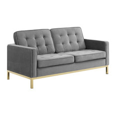 Gold Gray Loft Gold Stainless Steel Leg Performance Velvet Loveseat