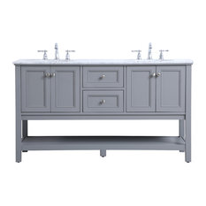 60-inch Double Sink Bathroom Vanity Set Gray